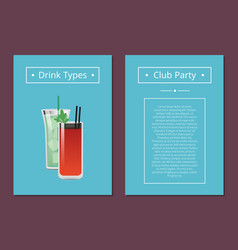 club party drinks type promo poster with cocktails vector image
