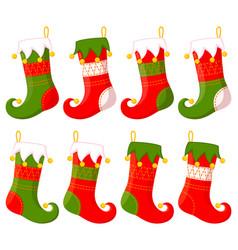 Colorful cartoon christmas stocking set vector