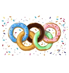 Colorful donuts in the shape of the Olympic symbol vector