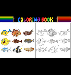 coloring book various fishes vector image