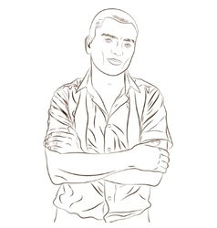Contour of elegant young man weared in a shirt vector