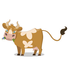 cute brown spotted cow funny farm animal cartoon vector image