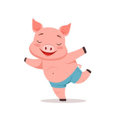 Cute happy pig having fun funny cartoon animal vector