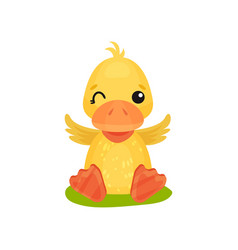 Cute little yellow duckling character sitting on vector