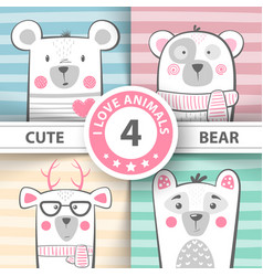 cute winter bear characters vector image