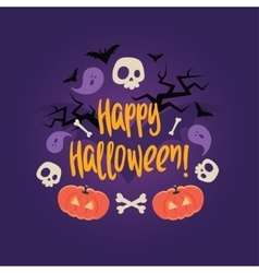 Day of the dead colorful card Halloween vector
