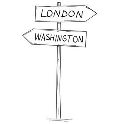 drawing of old two directional arrow road sign vector image