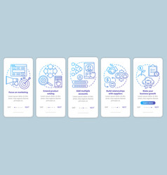 Dropshipping blue onboarding mobile app page vector