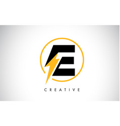 E letter logo design with lighting thunder bolt vector