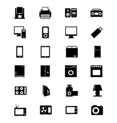 Electronics solid icons 1 vector