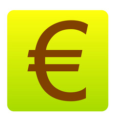 euro sign brown icon at green-yellow vector image