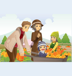 family doing pumpkin patch vector image