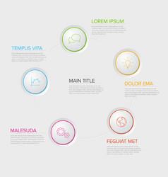 five circles diagram template vector image