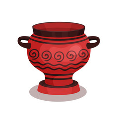 Flat icon of red amphora with circular vector