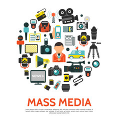 flat mass media round concept vector image