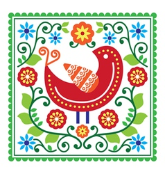 Folk art pattern with bird and flowers vector image