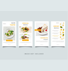 food and culinary instagram stories promotion vector image