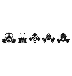 gas mask icon set simple style vector image