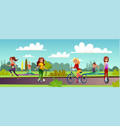 girls leisure in park vector image