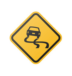 glossy slippery road sign vector image