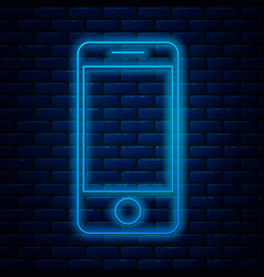 Glowing neon line mobile smart phone with app vector