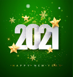 Green happy new year 2020 greeting card with vector