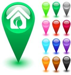 Green home button vector image