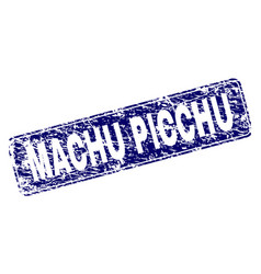 Grunge machu picchu framed rounded rectangle stamp vector