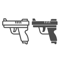 gun line and solid icon self defense concept vector image