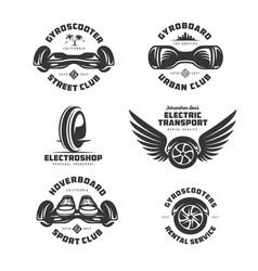 Gyroscooter electric transport labels set vector