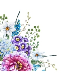 Hand drawn watercolor flowers vector