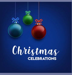 hanging christmas balls blue background vector image