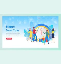 happy new year people standing clock website vector image