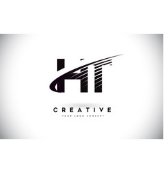 Ht h t letter logo design with swoosh and black vector