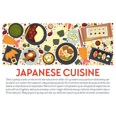japanese cuisine banner template with dishes top vector image
