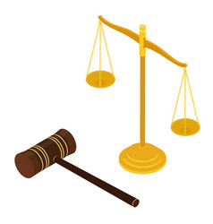 Judges gavel and justice scales constitutional vector