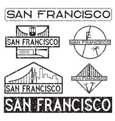 Landmarks of san francisco grunge vintage labels vector