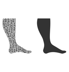 Leg collage of binary digits vector