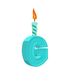 letter g birthday font letter and candle vector image
