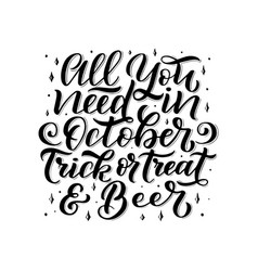 lettering quote about october hand written vector image