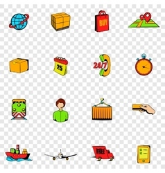 Logistics set icons vector image