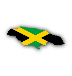 map and flag of jamaica vector image