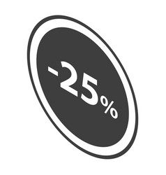 minus 25 percent sale black emblem icon isometric vector image