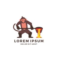 Monkey foundry logo mascot character chimp vector