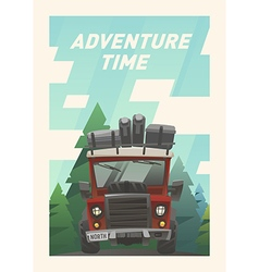 Off road full loaded adventure car vector image