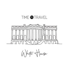 one continuous line drawing white house landmark vector image