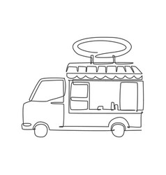 one single line drawing trendy food truck logo vector image