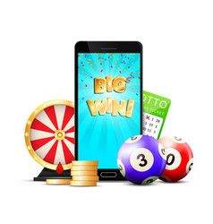 Online lottery casino colorful composition vector