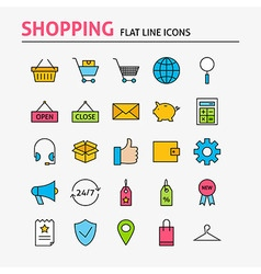 Online Shopping Colorful Flat Line Icons Set vector