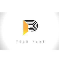 P black lines letter logo creative line letters vector